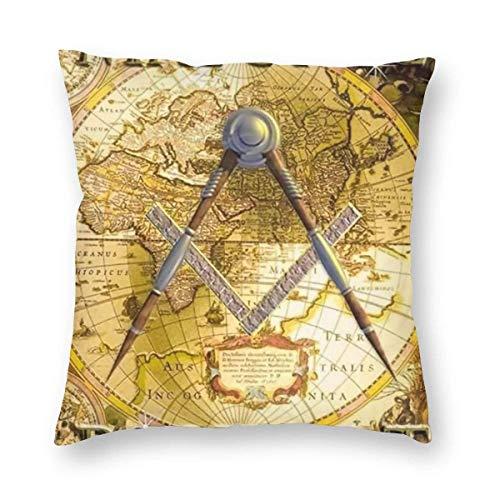 BEDKKJY Pasaporte masónico Faith Hope and Charity Freemason Logo Vintage Map, Fundas de Almohada Fundas de Almohada Decorativas Fundas de cojín con Cremallera