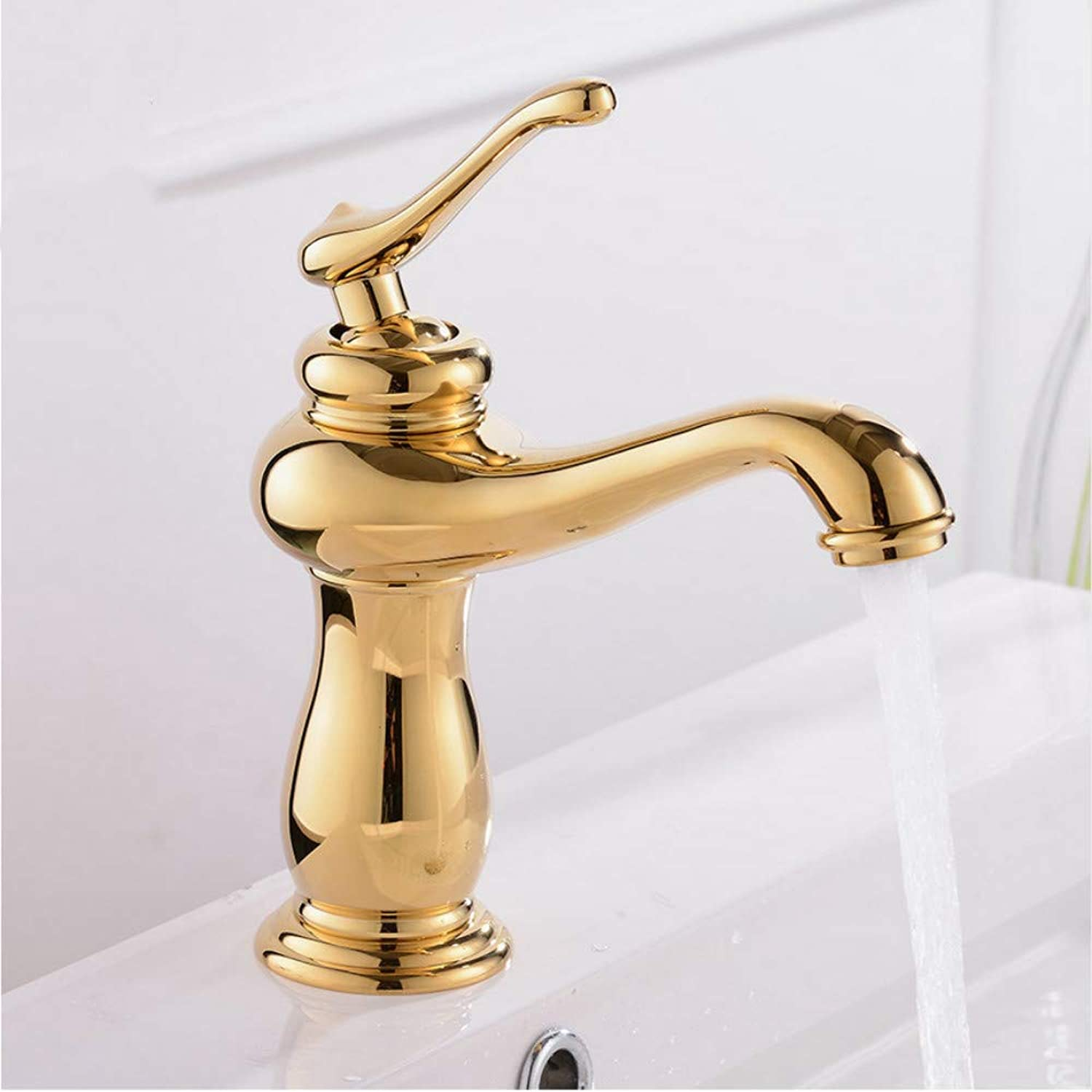 LLLYZZ Hot Sale Good Quality Deck Mounted Single Handle gold Bathroom Basin Hot & Cold Mixer Tap Basin Faucet