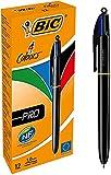 Bic 4 Colours - Pro Penna a Scatto, Punta Media da 1 mm, 4 Colori di Inchiostro , Nero, 12 Pezzi