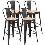 HOMCOM Lot de 4 tabourets de Bar Industriel avec Dossier Repose-Pied Hauteur Assise 76 cm métal café foncé Panneaux Multicouches Imitation Bois Clair