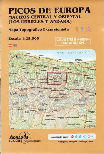 Picos de Europa. Macizos Central y Oriental (Los Urrieles y Andara). Mapa: Mapa topográfico excursionista. Escala 1:25000