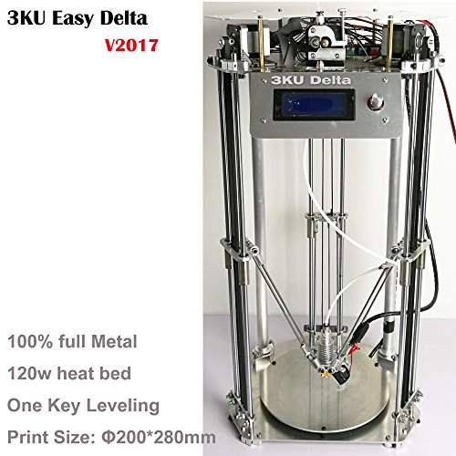 2017 New 3KU Updated Full Metal Structure Delta 3D Printer with heatbed one key leveling 250g PLA