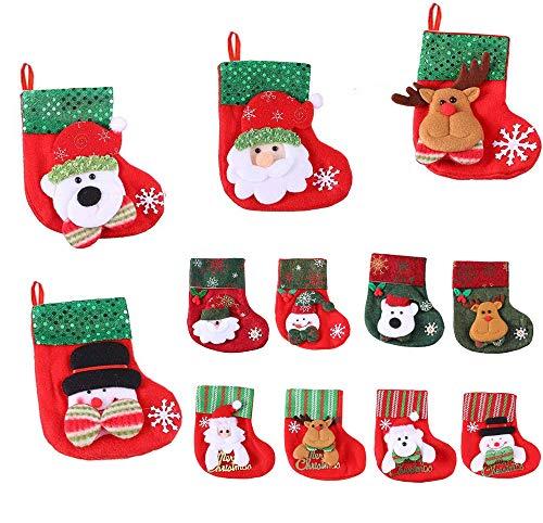 Mini Natale Calze 12 pezzi, Bambini 6,25 pollici piccolo Sacchetti di carte regalo per caminetto/albero/casa - Babbo Natale, pupazzo di neve, renne, decorazioni per regali di Natale, set di ornamenti