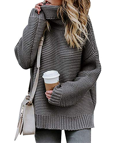Yidarton Pullover Damen Rollkragenpullover Strickpullover Lässiges Stricken Pulli Winter Sweatshirt Oberteile Elegant, Grau, L