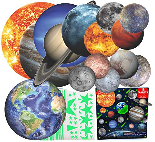 Glow in The Dark Stars and Planets 3D Realistic Ceiling Solar System Wall Stickers, All Glowing Planets Dwarf Pluto Moon Sun, Bonus Over 200 Stars Shooting Stars