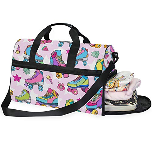QMIN Reisetasche mit buntem Rollschuh-Muster, großes Handgepäck, Reisetasche, leichter Reißverschluss, Rucksack mit Gurt, für Damen, Herren, Mädchen, Jungen