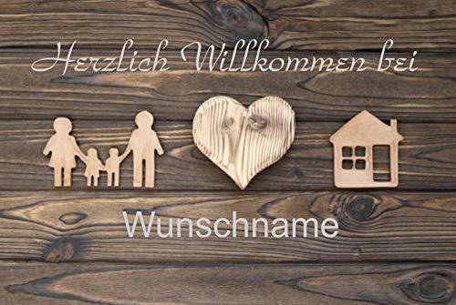 Crealuxe Fussmatte - Herzlich Willkommen bei .mit Wunschname (90) - Fussmatte Bedruckt Türmatte Innenmatte Schmutzmatte lustige Motivfussmatte