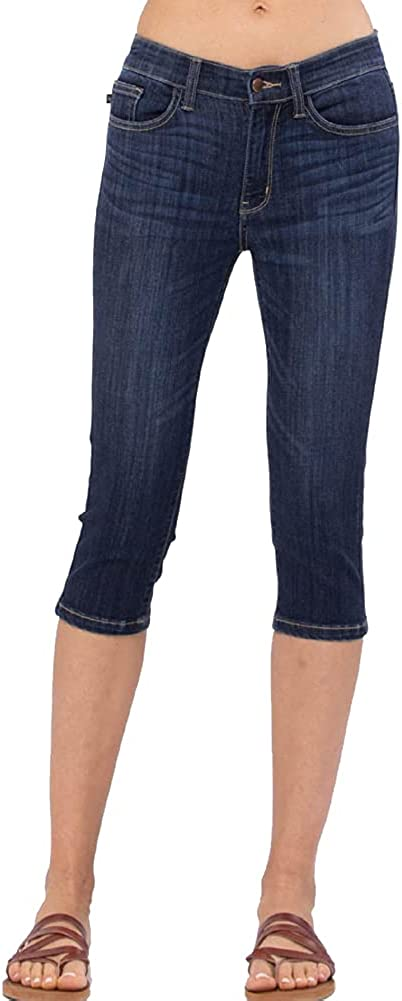 Judy Blue Mid Rise Dark Blue Denim Skinny Capri Jeans Regular to Plus Size