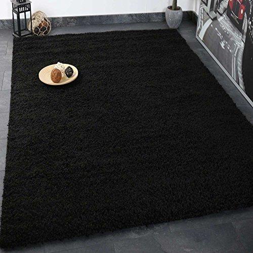 VIMODA Prime Shaggy Teppich Schwarz Hochflor Langflor Teppiche Modern, Maße:140x200 cm