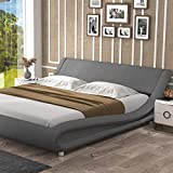 Allewie King Size Modern Platform Bed Frame with Curved Headboard, Linen Fabric Fully Upholstered / Strong Wooden Slats Support / Mattress Foundation with Adjustable headboard, Grey