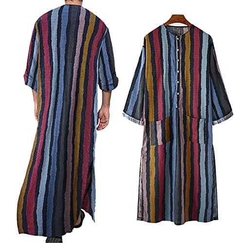 ZZAL Schlafkleid männer Nachthemd Bademantel Herren mit Taschen-nachthemden Kleidung Bedrucktes Langarmhemd Muslimische Robe, 2er Pack(Size:XL,Color:Style1)
