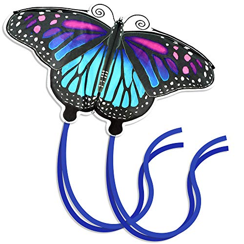 Easy to Fly Butterfly Kite for Kids and Adults, Giant Kites for Girls Best for Beach, Summer Activities, and Outdoor Games, Beautiful Blue Monarch Kite Easy to Assemble 46 Inch with Line and Spool