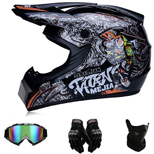 Casco de motocross para hombre con gafas, impresión, casco de cara completa,...