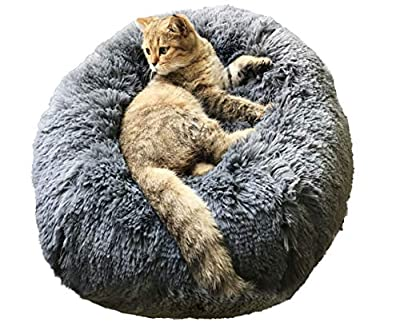BinetGo Donut Dog Bed Cat Bed Calming Anxiety,Pet Fluffy Bed Donut Cuddler Bed for Small Medium Dog and Cat, Joint-Relief and Improved Sleep – Machine Washable, Waterproof Bottom (Large, Navy Grey)