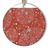 EaYanery Adorno de Navidad dorado de copos de nieve (redondo) personalizado de cerámica para día festivo de Navidad 2019