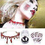 Collar de goteo de sangre, 3 piezas de cicatrices de zombies, tatuajes de heridas, pegatinas con sangre y dentaduras de dientes de vampiro zombi para Halloween
