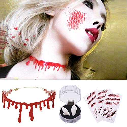 Collar de Goteo de Sangre, Pegatinas de Tatuajes de heridas de Cicatrices de Zombies, dentaduras de Dientes de Vampiro para Accesorios de Disfraces de Halloween