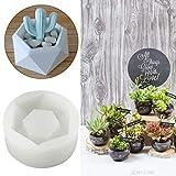 HAPYLY Diamond Shaped Surface Succulent Plant Flower Pot Soap Bottle Mold Silicone Mold DIY Ashtray Candle Holder Mould