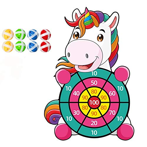 Unicorn Dart Board Games for Kids with 8 Sticky Balls,Indoor Outdoor Party Parent Child Game,Darts Board Set with Hook,Best Gift Idea for Boys Girls Ages 3 Year Old and Up,14Inches (Union)