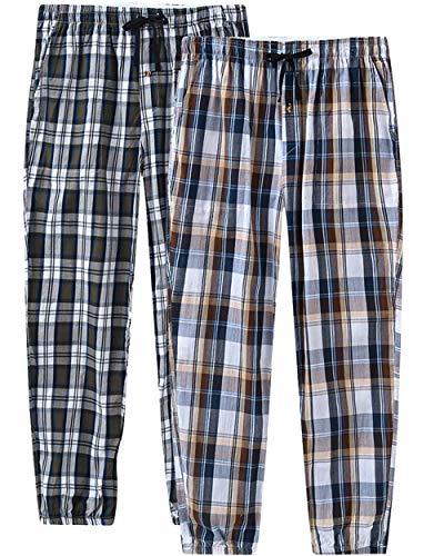 JINSHI Heren Pyjamabroeken Katoen Lange Broek Geruit Nachtkleding Vrijetijdsbroek