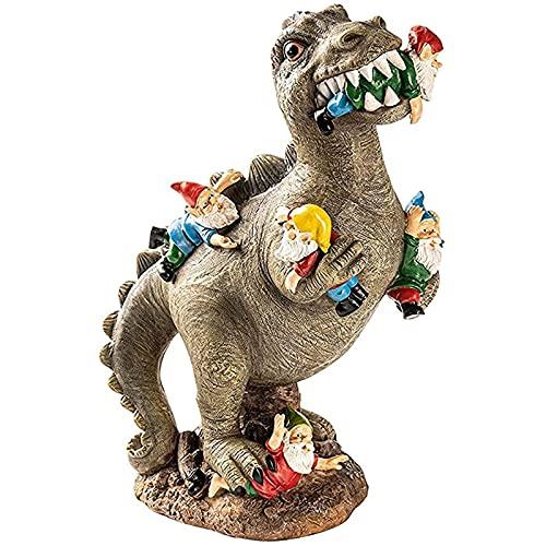 YAOLUU Jardin Decoracion Jardín Dinosaurio Estatua gnomo Divertido Enano Resina Estatua Escultura casa al Aire Libre Patio Arte Ornamento césped jardín decoración Estatuas Decorativas (Color : L)