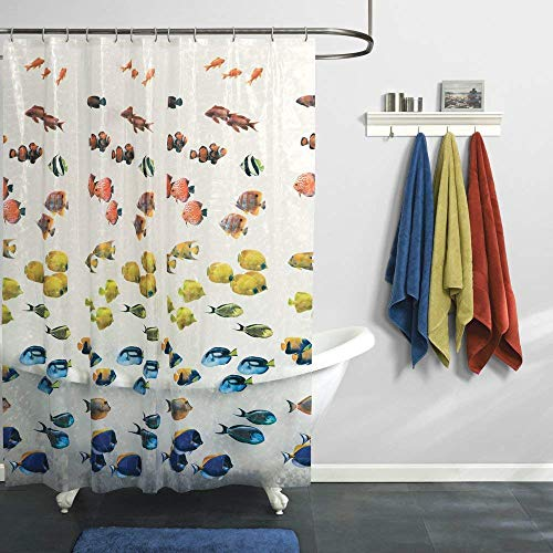 clear colorful fish shower curtain