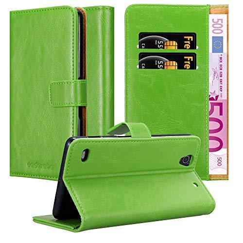 Cadorabo Hülle für Sony Xperia C4 - Hülle in Gras GRÜN – Handyhülle im Luxury Design mit Kartenfach & Standfunktion - Hülle Cover Schutzhülle Etui Tasche Book