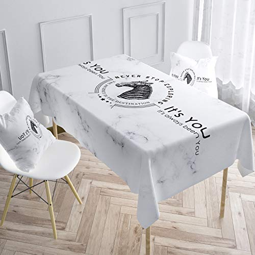marca blanca Polyester Table Cloth Rectangle Tablecloth 3D Floral Table Cover for Party Dinning Decoration White140x220cm