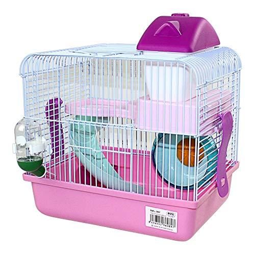 DI ZE LIN PET HOME S.L DZL® Jaula para Hamster 27 * 21 * 25cm jaulas Hamsters pequeña Bebedero comedero y Escalera incluidos (Rosa)