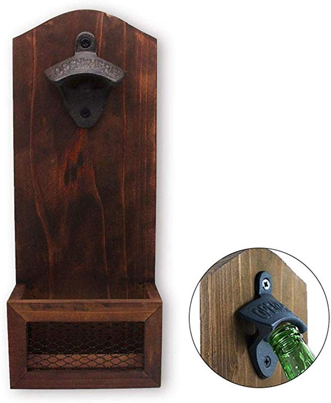 Womdee Wall Mounted Bottle Opener Vintage Solid Wood Wall Hanging Bottle Opener With Cap Catcher Ideal Gift For Men And Beer Lovers Bar Pub Kitchen