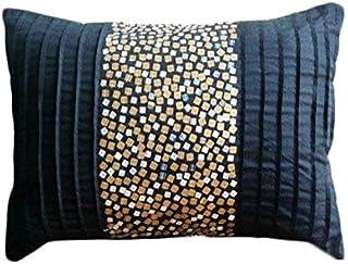 Starbust Fizz - Decorativa Funda de Cojin 30 x 50 cm, Rectangle/Lumbar Negro Seda Oro y Plata Lentejuelas
