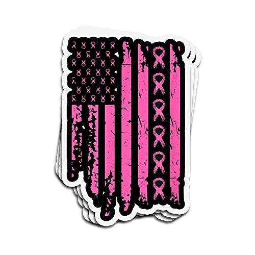 Lplpol 3 pegatinas de pared para ventana de ordenador portátil de 4 pulgadas, diseño de bandera americana de concienciación sobre el cáncer de mama