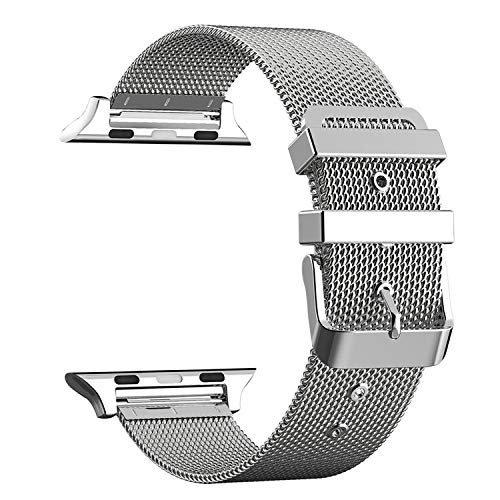 Xnhgfa Compatible with Apple Watch Strap 38mm 40mm Metal Stainless Steel Mesh Loop Adjustable Replacement for iWatch Series 5 4 3 2,Silver,38MM/40MM