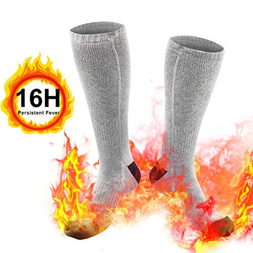 Heated Socks, Upgraded Electric Rechargeable Battery Heating Socks for Men Women, 7.3V 4800mAh Battery Powered Cold Weather Heat Socks Long Lasting Safe Warmers, Up to 9 Hours of Heat