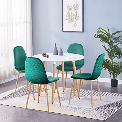 GOLDFAN Dining Table and Chair Set 4 Modern Round Kitchen Table and Fabric Velvet Chairs with Solid Wood Legs Dining Room Set, Green