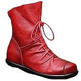 Vogstyle Femme Bottes Courtes avec Lace en Cuir Couple Zippées Style-1 Toison Rouge EU 36//CH 37