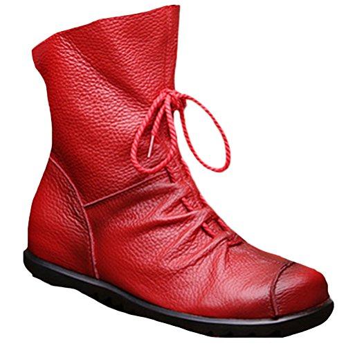 Vogstyle Damen Stiefel Weiches Leder Stiefeletten Warm Gefüttert Art 1 Rot Fleece EU40CH41