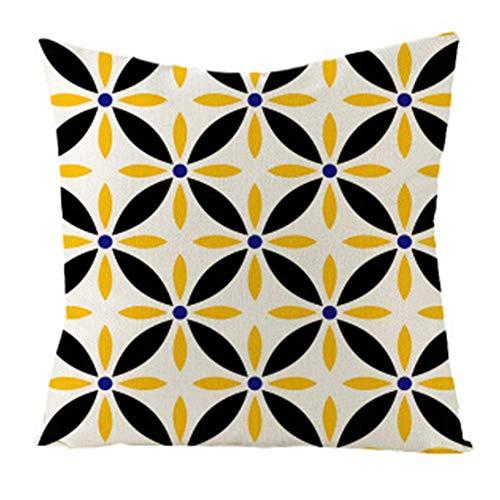 Calculatrice|Kissenbezug mit geometrischem Muster im modernen minimalistischen Stil, Größe: 45 * 45 cm, Material: Leinen
