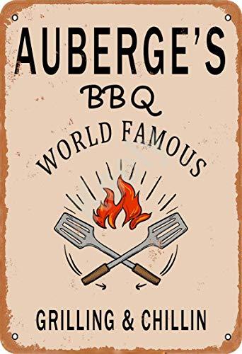 Keely Auberge'S BBQ World Famous Grilling & Chillin Decorazione da Parete in Metallo Vintage con targhetta in Metallo 12x8 Pollici per Bar, ristoranti, Pub, Uomo, Grotta Decorativa