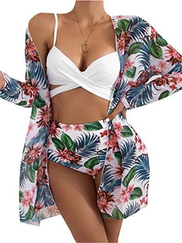 ZIYYOOHY Damen Sexy Crossover Gepolstert Push Up Bauchweg Rückenfrei Bikini-Set Badeanzug Dreiteiliger Anzug(Marineblau, S)
