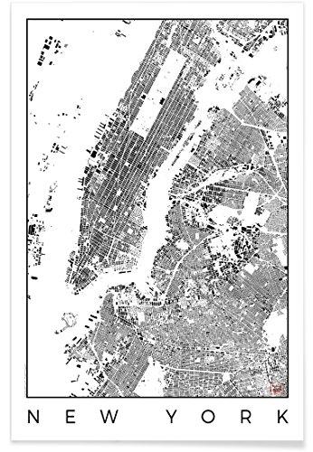 """Juniqe® Stadtpläne New York Poster 20x30cm - Design """"New York Map Schwarzplan"""" entworfen von Hubert Roguski"""