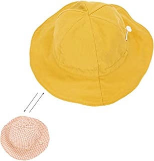 Rolcheleego Sun Protection Hat for Kids Toddler Boys Girls Wide Brim Summer Play Hat Cotton Baby Bucket Hat with Chin Strap