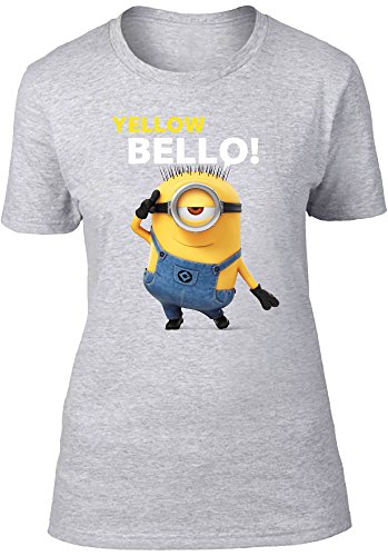 Beats & More Minions-Yellow Bellow T-Shirt, Gris chiné, M Femme