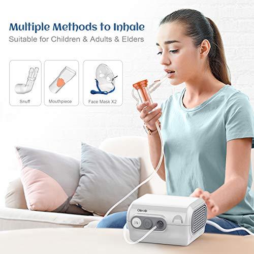 Aerosol a Pistone nalatore Nebulizzatore Portatile Inalatore Nebulizzatore Silenzioso- per aerosolterapia - con boccaglio e maschera per i Bambini e Adulti