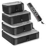Eono by Amazon - 5 Set Cubos de Embalaje, 4 Tamaños Diferentes Equipaje de Viaje Organizadores de Embalaje y 1 Bolsa de Lavandería, Net