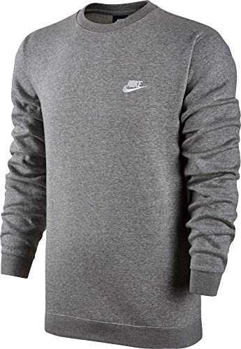 Nike Herren M NSW CLUB CRW BB 804340 Long Sleeved T-shirt, Mehrfarbig (Dark Grey Heather/White), L