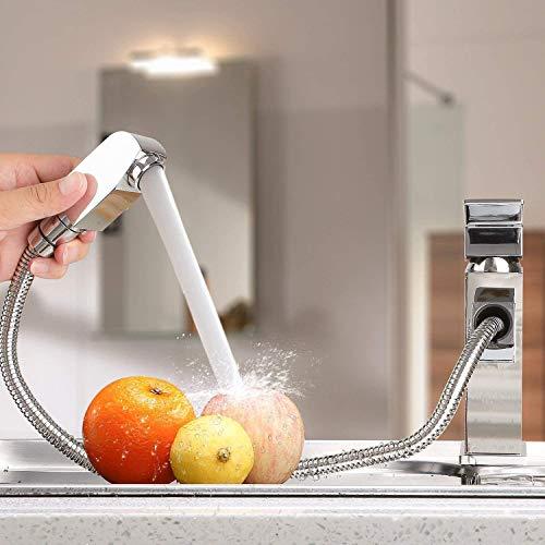 Homfa ausziehbare Waschtischarmatur. Küchenarmatur mit Einhandmischer, ausziehbarer Schlauchbrause und Keramik-Kartusche aus verchromtem Messing - 9