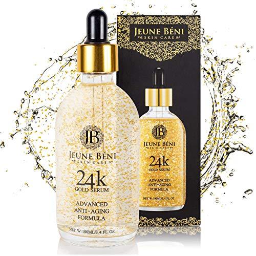 Jeune Beni 24K Gold Serum, Anti-Aging Natural Facial Moisturizer, Collagen, Hyaluronic Acid, Vitamin C & E, Antioxidants, Reduces Lines & Wrinkles, Softens Dry Skin, Lightens Discoloration, 3.4 FL OZ