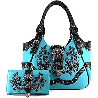 Justin West Tooled Laser Cut Leather Floral Embroidery Rhinestone Buckle Studded Shoulder Concealed Carry Tote Style Handbag Purse (Turquoise Purse and Wallet Set)