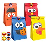 PANTIDE 24Pcs Sesame Goody Candy Treat Bags Sesame Party Favor Bags Sesame Party Supplies Sesame Party Decorations Elmo Cookie Monster Big Bird Ernie with Stickers for Birthday Party Baby Shower